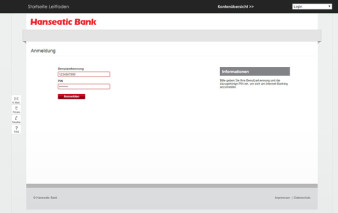 Screenshot Online-Banking Hanseatic Gold Card