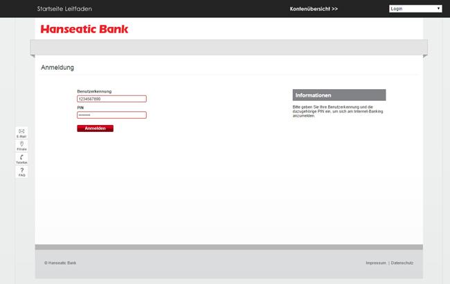 Internetbanking Hanseatic Bank
