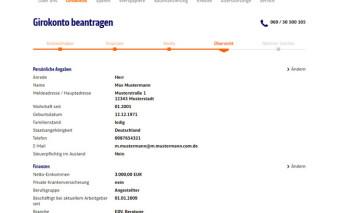 Antragsstrecke ING-DiBa Girokonto mit Visa Card