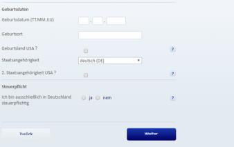 Antragsstrecke Postbank Visa Card