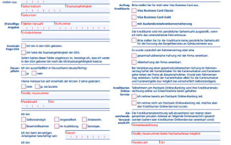 Antragsstrecke Postbank Business Visa Card