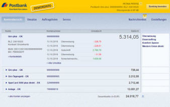 Screenshot Onlinebanking Postbank Visa Business Card Gold