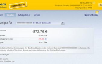 Screenshot Onlinebanking Postbank Visa Business Card Gold