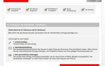 Screenshot Antragsstrecke Santander TravelCard