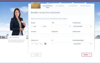 Screenshot Kartenantrag TARGOBANK Gold-Karte