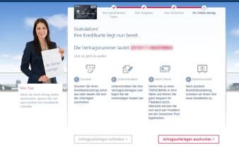 Screenshot Kartenantrag TARGOBANK Premium