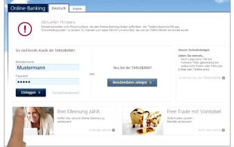 Screenshot Onlinebanking TARGOBANK