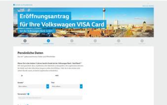 Antragsstrecke Volkswagen Bank Visa Card