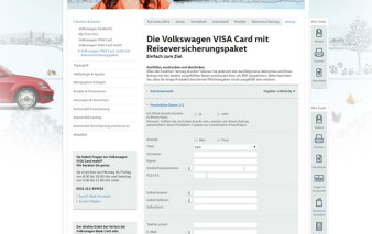 Screenshot Antragsstrecke VW Bank Card mobil mit RV