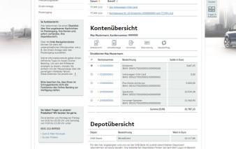 Screenshot Onlinebanking Volkswagen Bank Visa Card mobil RV