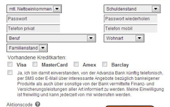 Screenshot Advanzia Bank MasterCard Gold