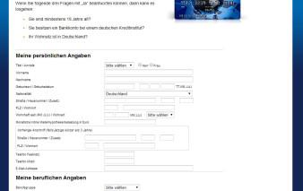 Screenshot Antragsstrecke ICS Visa World Card