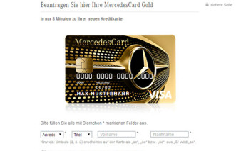 Screenshots Antragsstrecke MercedesCard Gold