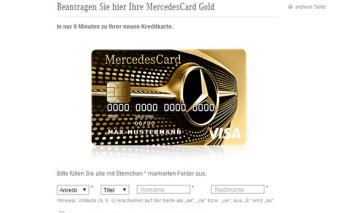 Screenshots Antragsstrecke MercedesCard Gold