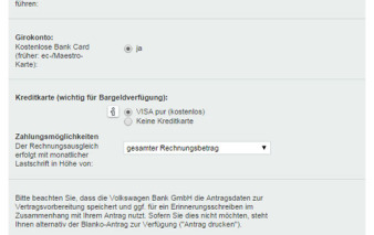 Kreditkarten-Antrag Volkswagen Bank