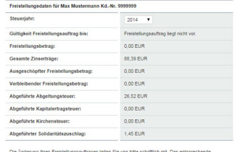 screenshot freistellungsdaten vw bank visa card pur
