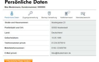 screenshot persoenliche daten vw bank visa card pur 1