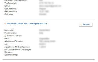 screenshot zusammenfassung vw bank visa card pur 2