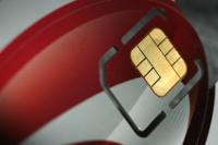 Frontalansicht auf Sicherheitschip der Kreditkarte