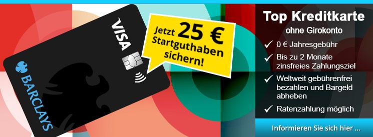 Barclays VISA - kostenlose Kreditkarte mit Ratenzahlungsfunktion, 59 Tage Zahlungsziel, keine Fremdwährungskosten