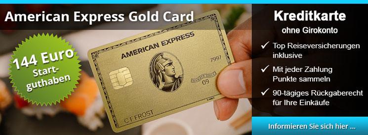 American Express Gold Card - 144 Euro Startguthaben, Top Reiseversicherungen inklusive, Mit jeder Zahlung Punkte sammeln