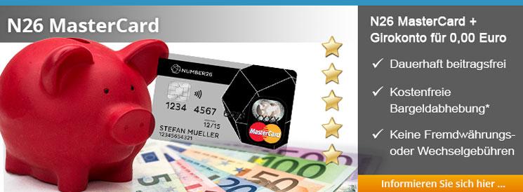die kostenlose Debit-MasterCard mit kostenlosem Girokonto von Number26