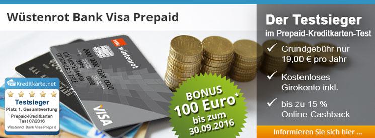 Die Wüstenrot VISA Prepaid Karte, Testsieger im Prepaid-Kreditkarten Test 2016 und noch bis 30.09.2016 mit 100 Euro Bonus möglich