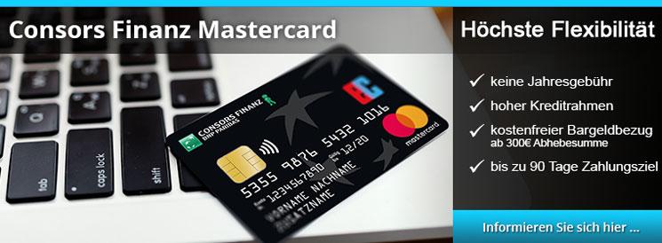 Consors Finanz MasterCard - hohe Flexibilität, keine Jahresgebühr, bis zu 90 Tage Zahlungsziel