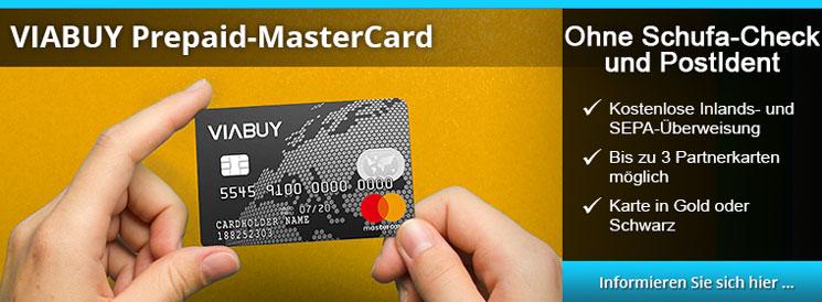 VIABUY - Prepaid Karte ohne PostIdent und Schufa-Abfrage
