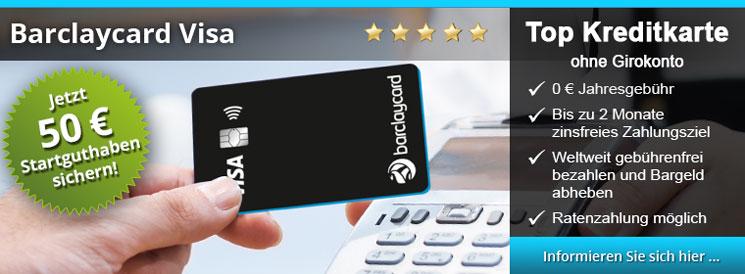 Barclaycard Visa - kostenlose Kreditkarte mit Ratenzahlungsfunktion, 59 Tage Zahlungsziel, keine Fremdwährungskosten