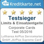 Testsieger Limits und Einsatzentgelte AirPlus Supreme