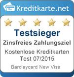 Testsieger in der Kategorie zinsfreies Zahlungsziel Barclaycard New Visa