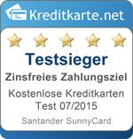 Testsieger in der Kategorie zinsfreies Zahlungsziel Santander SunnyCard