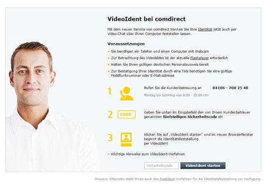 VideoIdent der comdirect