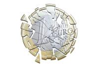 Zersplitterte Euromünze auf weißem Hintetgrund