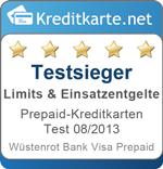 Testsieger Limits Prepaid-Kreditkarten 08/2013 - Wüstenrot Bank
