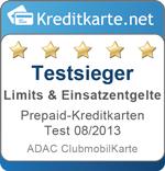 Testsieger Limits Prepaid-Kreditkarten 08/2013 - ADAC ClubmobilKarte
