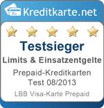 Testsieger Limits Prepaid-Kreditkarten 08/2013 - LBB Visa-Karte