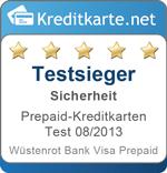 Testsieger Sicherheit Prepaid Kreditkarten 08/2013