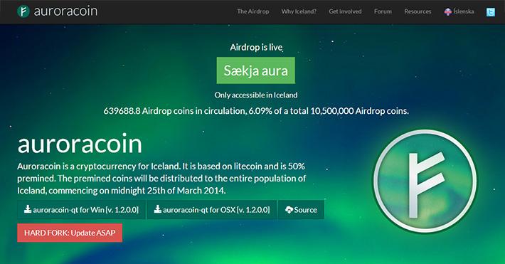 Auroracoin - Website des islandischen digitalen Coins