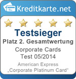 2. Platz im Corporate Cards Test 2014