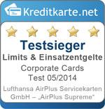 Sieger Limits und Einsatzentgelte im Corporate Cards Test 2014